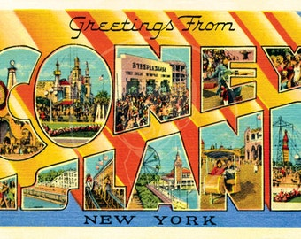 Greetings from coney island style 2 10x16 gicle canvas etsy greetings from coney island style 1 10x16 gicle canvas print of vintage postcard m4hsunfo