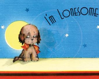 I'm Lonesome  - 10x16 Giclée Canvas Print of Vintage Postcard