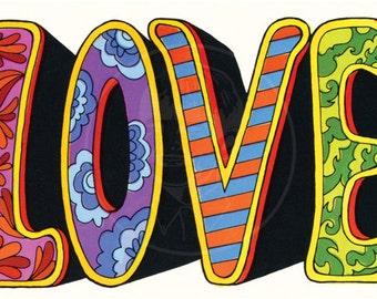 Love - 10x16 Giclée Canvas Print of Vintage Postcard