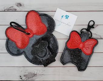 Mouse Ear Holder Gift SetEar Holder and Hand Sanitizer Holder SetGreat Gift for Disney LoverRose GoldBelle BronzeClassic Black and Red