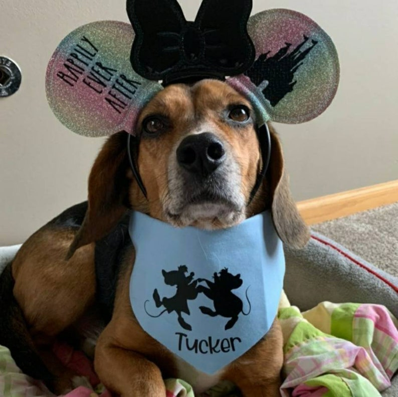 Dog Bandana Disney Dog Cinderella Mice  Pet Bandana Reversible Snap Close or Over the Collar
