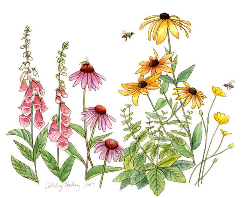 Bee-Friendly Flowers Watercolor Print image 0