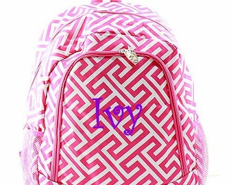 f239410afd97 SALE Personalized Greek Key Backpack - Girls Canvas Booksack Hot Pink    White Greek Key Full Size Backpack Monogrammed FREE