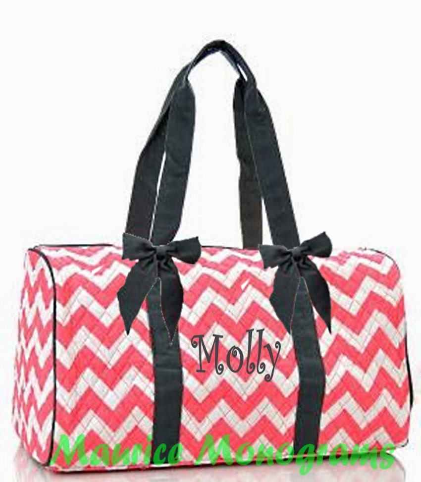 94f5ae67be Personalized Quilted Large Chevron Duffel Bag Gym Dance or Overnight Bag  Coral with Gray Trim - Monogram FREE- Zig Zap Pattern