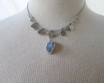 Faceted Labradorite and Agate Druzy Pendant Necklace