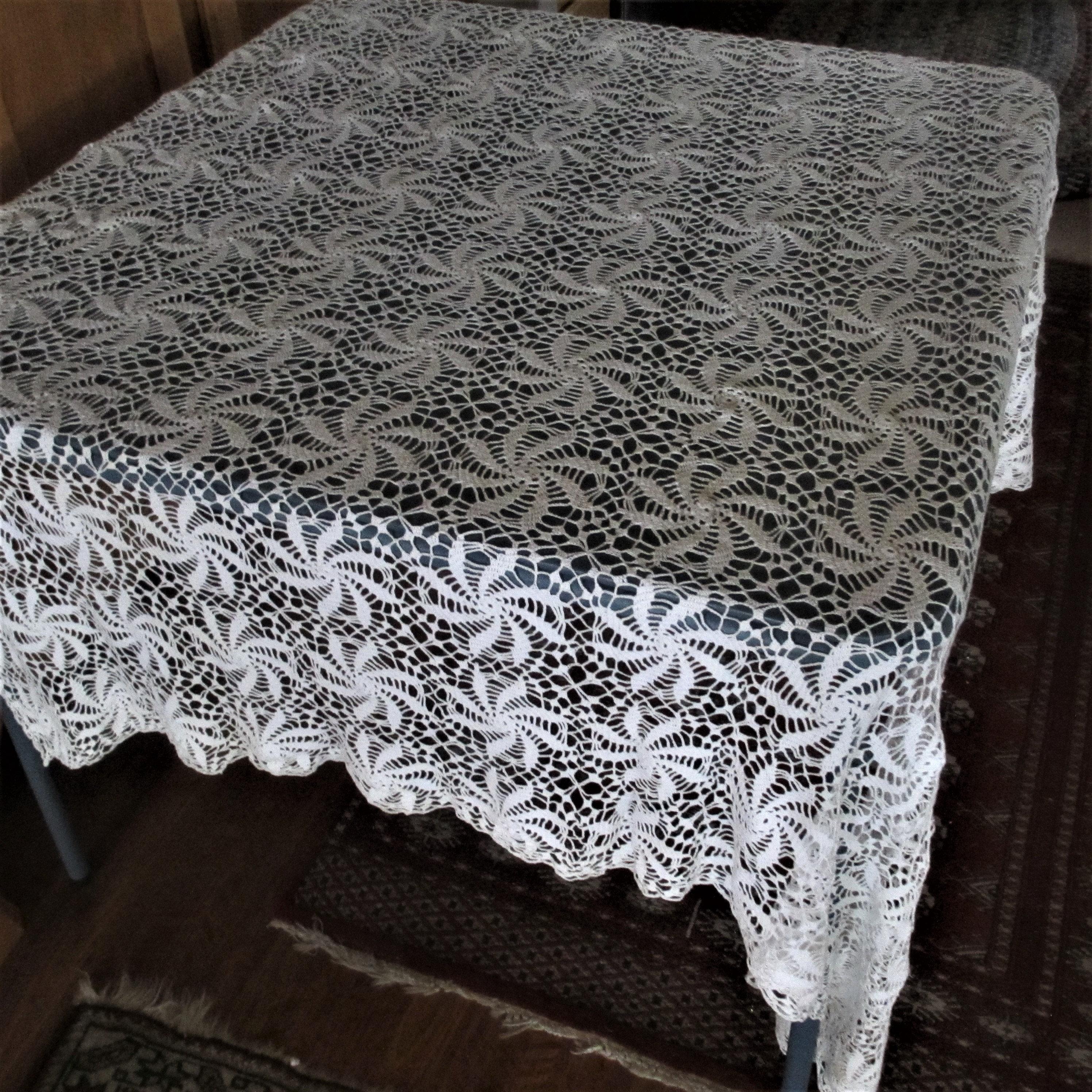 Tableecloth Crochet Off White Vintage Pinwheel Pattern Etsy