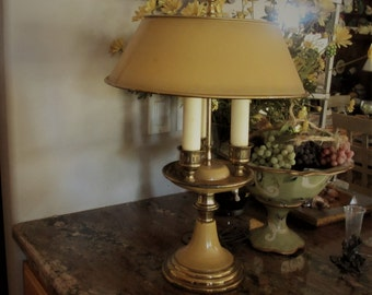 Bouilotte lamp vintage with tole shade gold and brass