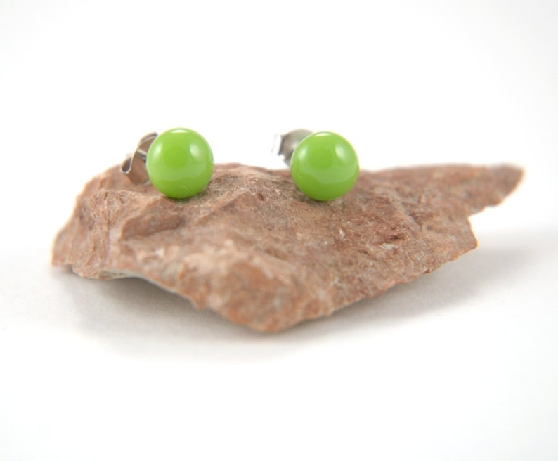 Peapod green fused glass stud earrings with surgical steel earring posts