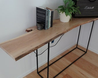 Custom Built Ash Or Cherry Hall Table/console With A Blackened Steel Base    Made To Order