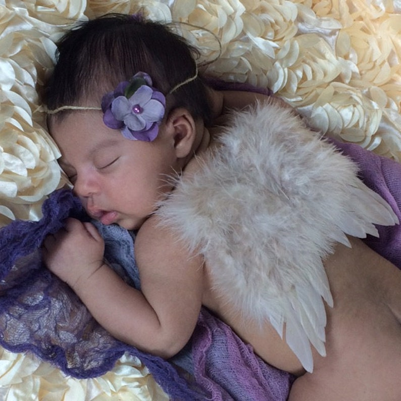 Newborn Photo Prop Angel Wings WITH elastic straps Beautiful Ready to ship Cream feather Gender Neutral Newborn baby Ivory