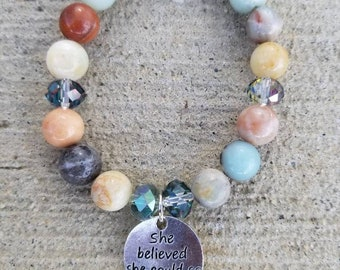 She believed she could so she did glass amazonite charm bracelet