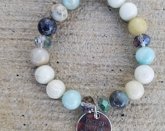 Never never give up glass amazonite beaded stretch charm bracelet