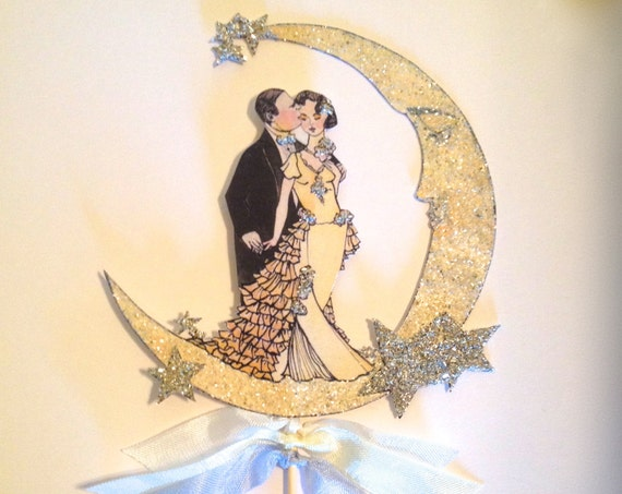 Art Deco Wedding Cake Topper. Great Gatsby Cake Topper. Celestial Cake Topper. Moon Cake Topper. Bride and Groom Cake Topper