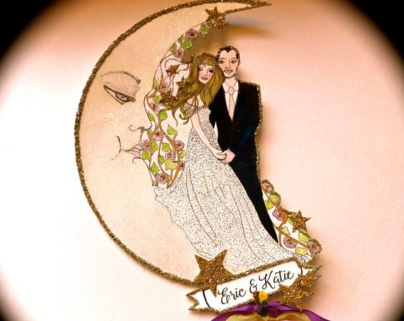 Custom Listing-Wedding Cake Topper. Bohemian Cake Topper.  Boho Cake Topper. Custom Portrait. Custom Illustration. Wedding Keepsake