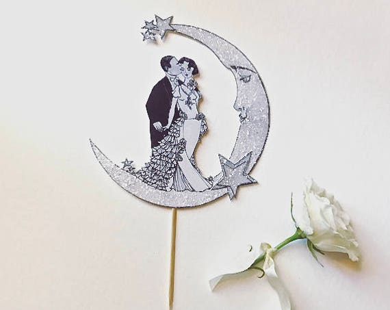 Celestial Wedding Cake Topper. Art Deco Cake Topper. Bride and Groom Cake Topper. Moon Cake Topper. Great Gatsby Cake Topper