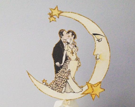 Art Deco Wedding Cake Topper. Moon Cake Topper. Great Gatsby Cake Topper. Jazz Age Cake Topper. Roaring Twentie
