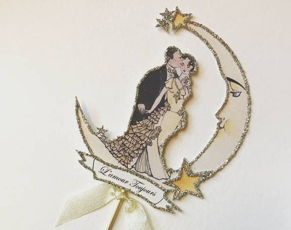 Customized Wedding Cake Topper - Bride and Groom - Moon - Vintage Wedding - Crescent Moon