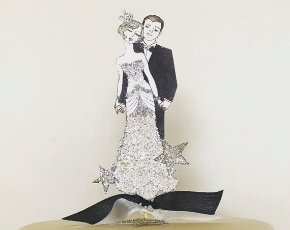 Great Gatsby Wedding Cake Topper. Art Deco Cake Topper. Bride and Groom Cake Topper. Roaring Twenties Cake topper