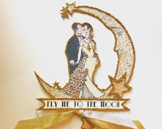 Customized Wedding Cake Topper. Great Gatsby Cake Topper. Personalized Cake Topper. Moon and Stars. Bride and Groom. Art Deco