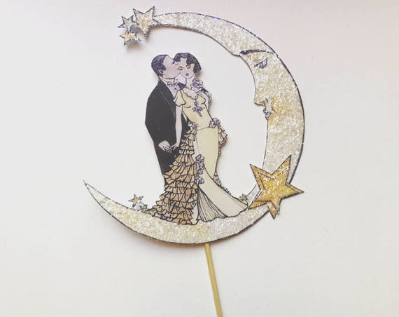 Celestial Wedding Cake Topper. Moon and Stars Cake Topper.  Bride And Groom Cake Topper. Unique Cake Topper. Art Deco Cake Topper