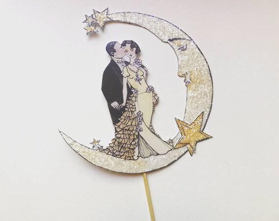 Moon Wedding Cake Topper. Bride And Groom Cake Topper. Celestial Cake Topper. Wedding Keepsake. Bohemian Wedding Cake Topper