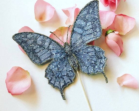 Butterfly Wedding Cake Topper. Butterfly Cake Topper. Botanical Cake Topper, Butterfly Decor. Personalized