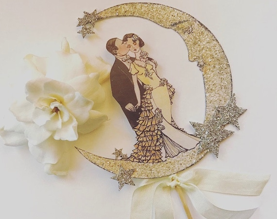 Art Deco Wedding Cake Topper. Great Gatsby Cake Topper. Bride and Groom Cake Topper. Moon Cake Topper