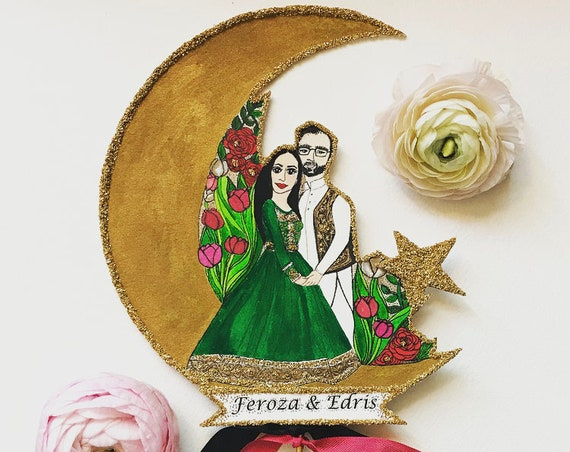 Pakistani Wedding Cake Topper. Custom Portrait. Portrait Cake Topper- Custom Illustrated. Personalized. Wedding Portrait