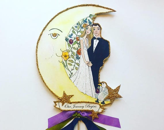 Custom Wedding Cake Topper. Custom Portrait. Custom Illustrated. Wedding Portrait. Personalized Wedding Cake Topper