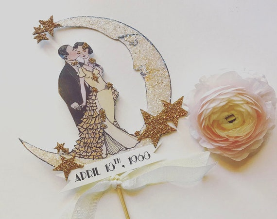 Personalized Wedding Cake Topper. Moon Cake Topper. Bride and Groom Cake Topper. Art Deco Cake Topper. Customized Cake Topper