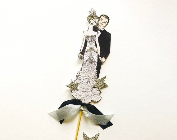 Great Gatsby Wedding Cake Topper. Bride and Groom. Art Deco Wedding Cake topper