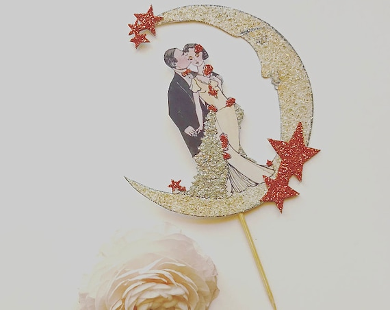Autumn Wedding Cake Topper, Rose Gold Cake Topper. Art Deco Cake Topper. Bride and Groom Cake Topper. Great Gatsby Cake Topper. Copper