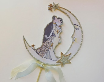 Personalized Wedding Cake Topper,Custom Hair Tone,Great Gatsby,Art Deco -Roaring 20s,Crescent Moon- Silver and Gold Glitter