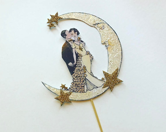 Moon Wedding Cake Topper. Art Deco Wedding. Bride and Groom Cake Topper. Celestial Cake Topper. Roaring Twenties Cake Topper