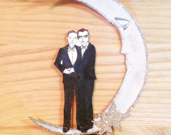 Gay Wedding Cake Topper. Two Grooms Cake Topper. Custom Portrait Cake Topper. Personalized Cake Topper. Wedding Portrait. Wedding Keepsake