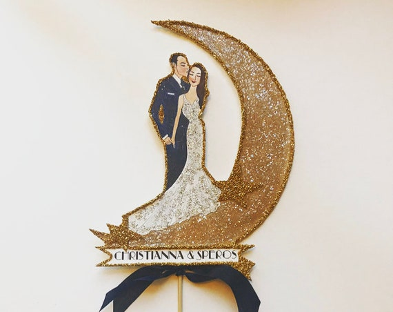 Portrait Wedding Cake Topper. Custom Portrait Cake Topper. Wedding Portrait. Personalized Cake Topper. Wedding Keepsake. Art Deco