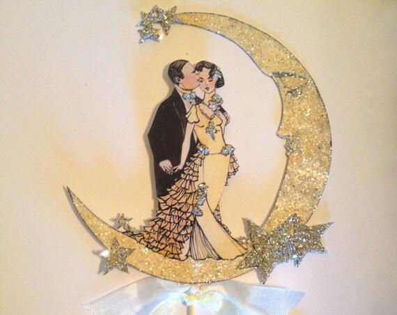 Moon Wedding Cake Topper. Great Gatsby Cake Topper. Bride and Groom Cake Topper. Jazz Age Cake Topper. Celestial Cake Topper