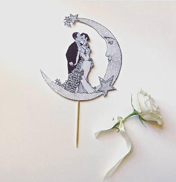 Celestial Wedding Cake Topper. Art Deco Cake Topper. Bride and Groom Cake Topper. Moon Cake Topper. Great Gatsby Cake Topper
