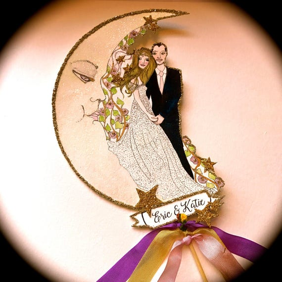 Custom Wedding Cake Topper. Bohemian Cake Topper.  Boho Cake Topper. Custom Portrait. Custom Illustration. Wedding Keepsake