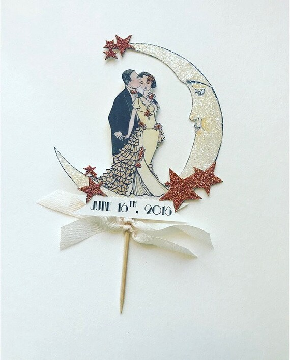 Personalized Wedding Cake Topper. Customized Cake Topper. Moon Cake Topper. Art Deco Cake Topper. Rose Gold. Roaring Twenties Cake Topper