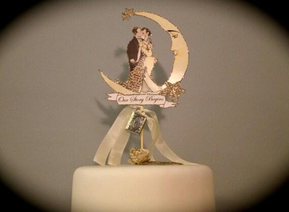 Wedding Cake Topper. Book Themed Cake Topper. Moon Cake Topper. Great Gatsby Cake Topper. Storybook Cake topper