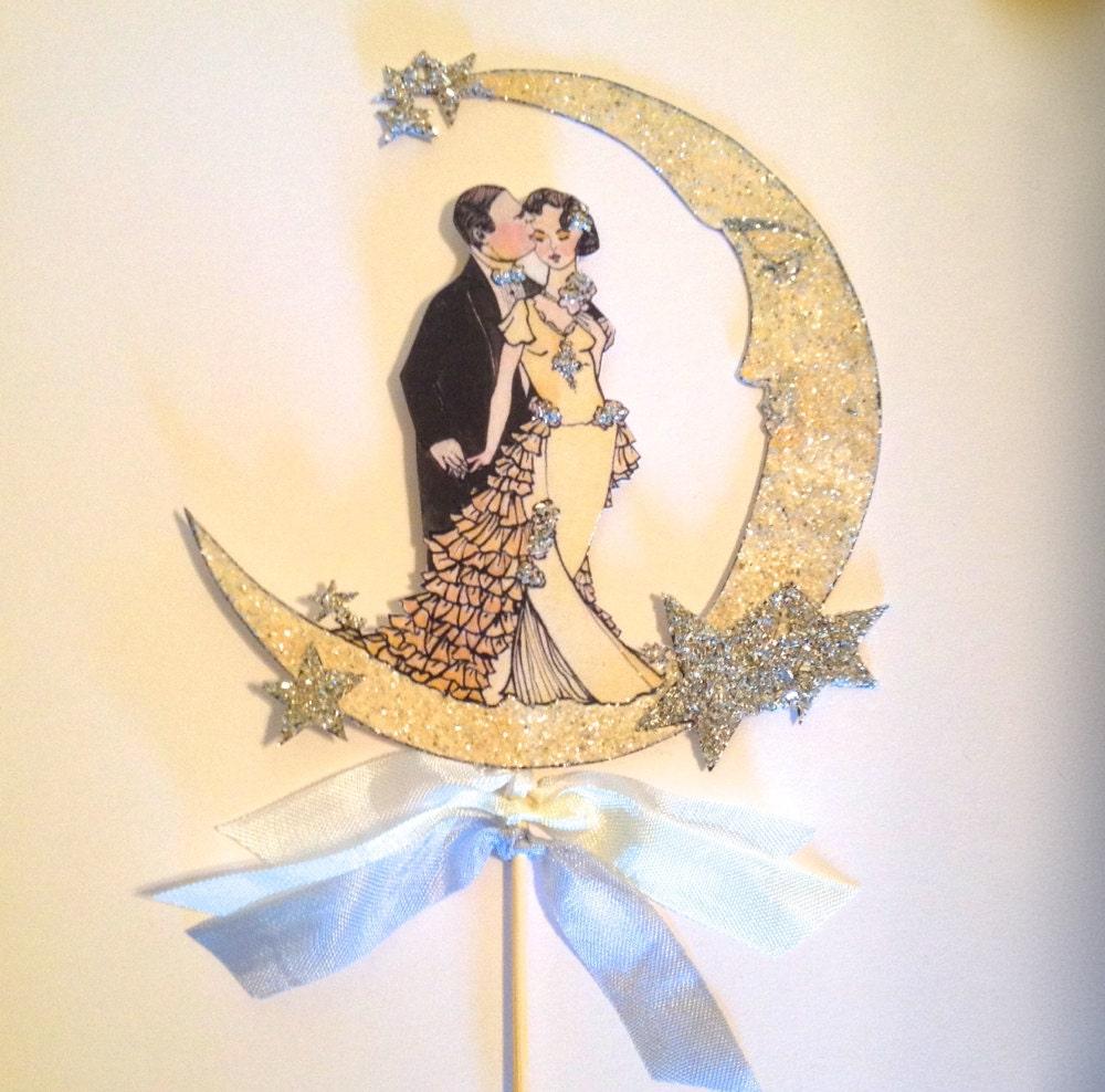 Art Deco Wedding Cake Topper. Great Gatsby Cake Topper. Celestial ...