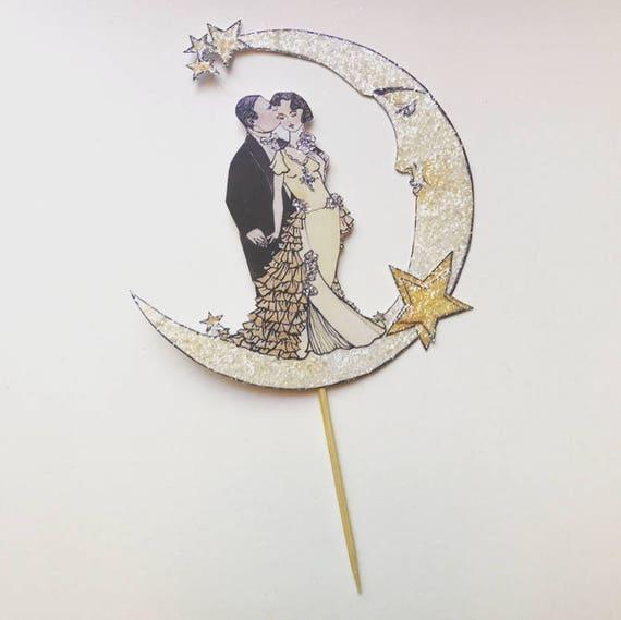 Celestial Wedding Cake Topper. Moon and Stars Cake Topper.  Bride And Groom Cake Topper. Unique Cake Topper. Art Deco Cake Topper