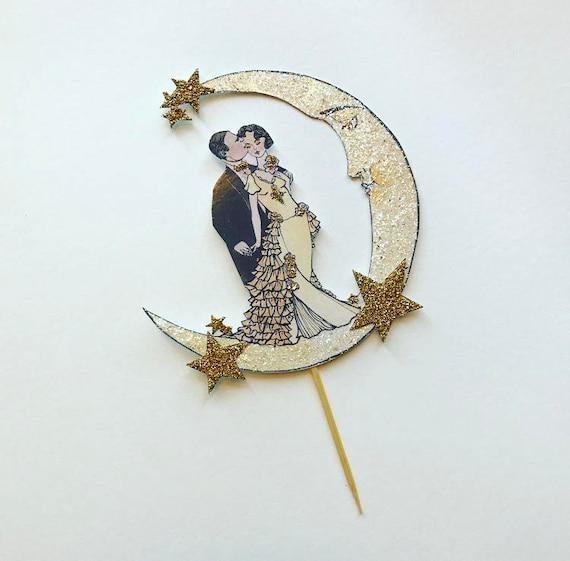Moon Wedding Cake Topper. Art Deco Wedding. Bride and Groom Cake Topper. Celestial Cake Topper. Roaring Twenties Cake Topper