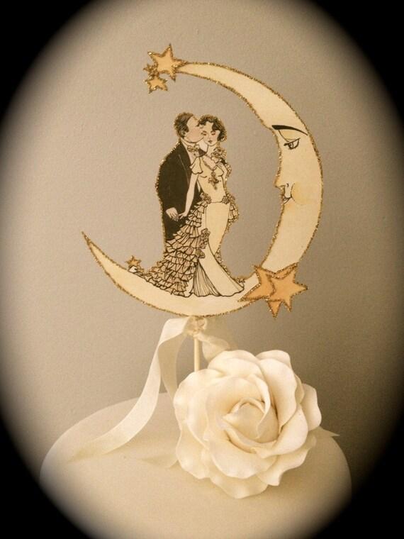 Art Deco Wedding Cake Topper. Moon Cake Topper. Celestial Cake | Etsy