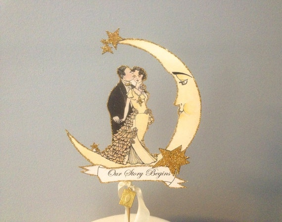 Customized Wedding Cake Topper. Moon Cake Topper. Book Themed Cake Topper. Great Gatsby Cake Topper. Customized Cake Topper