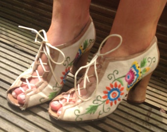 RARE original 60s 70s Jerry Edouard embroidered beaded tan leather lace up shoes UK 4 US 6.5