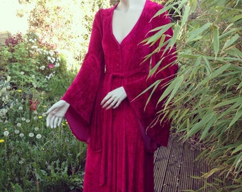 Original vintage 1970s cranberry crushed velvet BIBA maxi gown dress with HUGE sleeves xs s