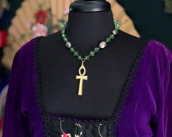 Eternal Life Vintage Ankh Pyrite Necklace