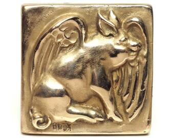 Flying Pig Bronze Tile